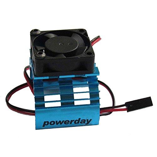 powerday Alloy Heatsink w/ 5v Cooling Fan for 1/10 Car 540 3650 Size Motor Blue