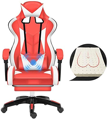 WYL Bseack Racing Style High-Back Leather Gaming Office Chair,with Footrest Executive and Ergonomic Swivel Chair with Headrest and Massage Lumbar Pillow (Color : Red White)