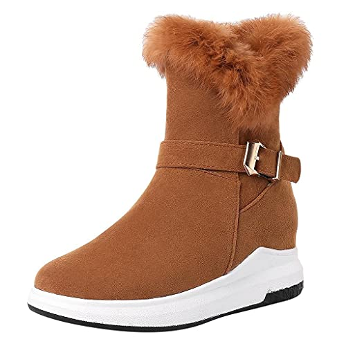 Reokoou Womens Suede Retro Ankle Boots Casual Plush Snow Boots for Women Low Heel, Winter Round Toe Roman Luxury Shoes
