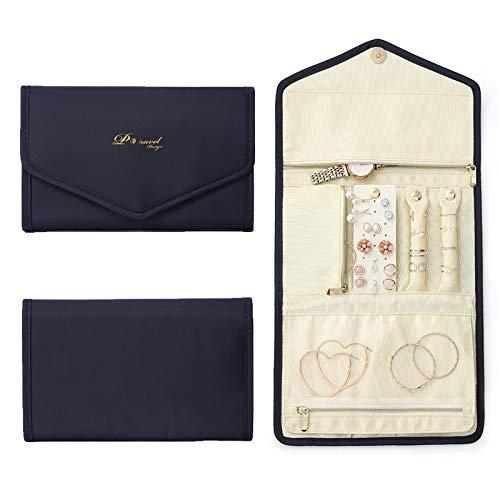 Tuevob Jewellery Roll Travel Jewelry Organizer Foldable Jewel Bag Case for Journey-Necklaces, Rings,Bracelets, Earrings