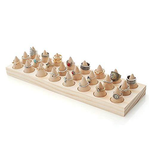 Chytaii - Soporte para anillos (24 conos) de madera maciza en bruto, anillo expositor de joyas, pendientes, collares, pulseras