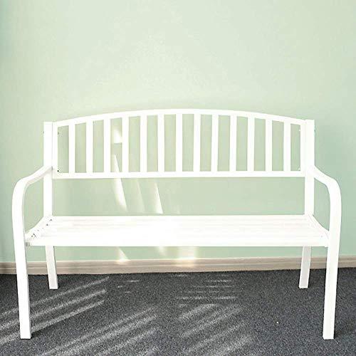 Outdoor Park Bank Lounge Chair, Gusseisen Stahlrahmen Metall Garten Rücksitz, Outdoor Schmiedeeisen Patio Bank mit Armlehnen, verwendet für Innenhof Veranda (mit Kissen)