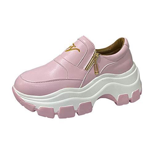 Cuñas Cierre De Cremallera Zapatos para Correr En Montaña Asfalto Aire Libre Deportes Zapatillas De Running para Mujer de Plataforma de Zapatillas de Deporte Casuales para Mujer