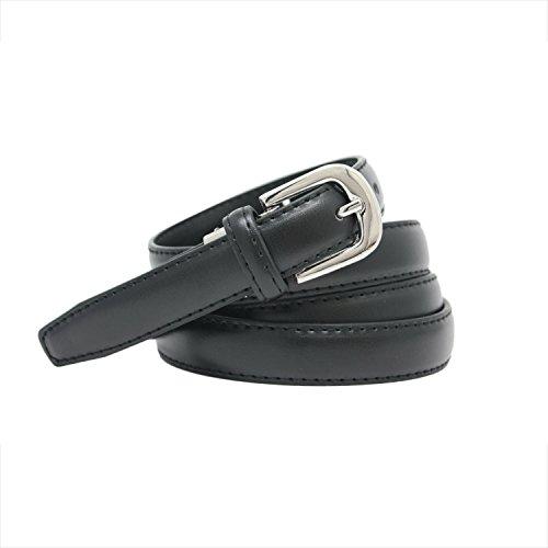 YEHMAN - Cinturón de mujer clásico fino de 2 cm de corteza de piel de vacuno ajustable de 120 cm Negro 120