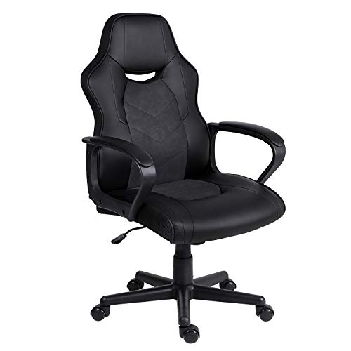 Hadwin Bürostuhl, Gaming-Stuhl, Rennsport-Drehstuhl aus Leder, Schreibtischstuhl mit gepolsterten Armlehnen, ergonomisches Design, Computerstuhl für Erwachsene und Kinder