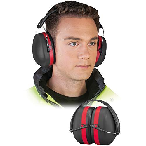 Panorama24 Gehörschutz Ohrenschützer mit 29dB SNR, lärmschutzkopfhörer Erwachsene, Faltbar Komfortabel kopfhörer Schiessen, Gartenarbeit, Rasenmähen - Schwarz-Rot