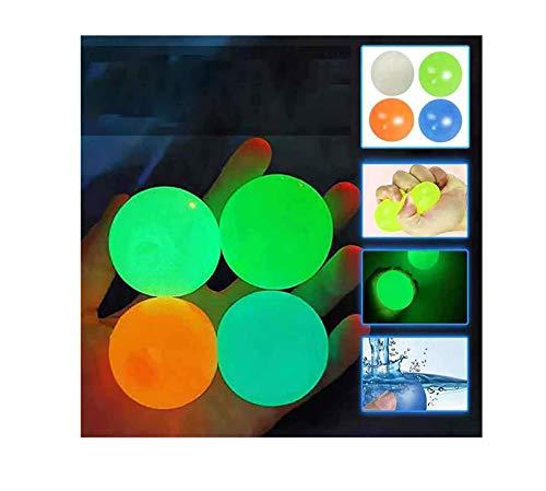 AKKY Globbles pegajosos,Bola para aliviar el estrés,¡4 Bolas Adhesivas Globbles Que se atascan en el Techo,Bolas Fluorescentes Stickytarget