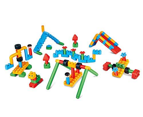 PolyM 760011 Abenteuerspielplatz, Flexible Bausteine, Lernspielzeug, Mehrfarbig