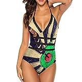 Women V Neck Vintage Hitting Target Dart 1 Piece Swimsuits Tummy Control Bandage Swimwear Halter Bathing Suit Slimming M