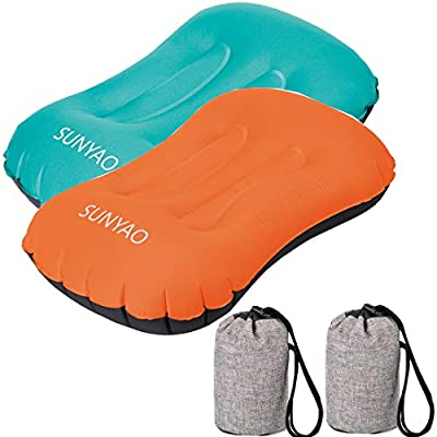 SUNYAO 2 Pack Set Ultralight Inflatable Camping Pillows with Compact Pouch Sack Ergonomic Pillow for Neck & Lumbar Support While Camping, Backpacking,Hiking