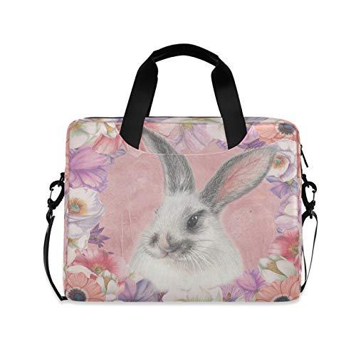 Ombra Laptop Shoulder Bag Easter Bunny Rabbit Flower Portable Laptop Sleeve Case with Strap for 14/15.6/16in Notebook Computer Messenger Bag for Women Men Briefcase