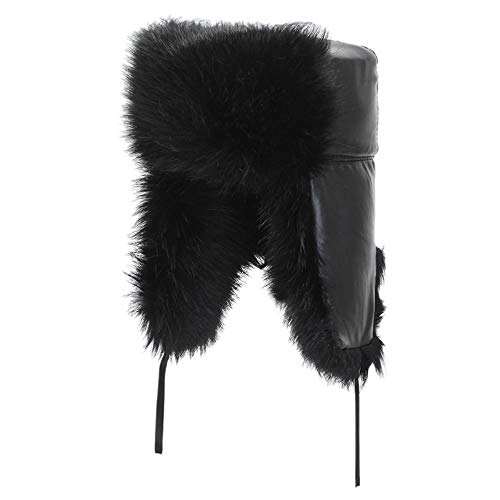 OSL Sombreros medianos y Ancianos, Sombreros de Hombres, Sombreros de Terciopelo de Invierno Caliente, Sombreros de algodón del Abuelo, Rompevientos y Espesor,Negro,codificado
