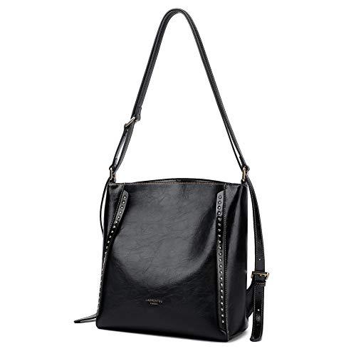 LAORENTOU Cowhide Leather Shoulder Bags for Women Purse Designer Crossbody Bags Bucket Bag Ladies Diaper Bag Wide Strap (Black-Multi Purpose Backpack & Shoulder Bag & Crossbody Bag)
