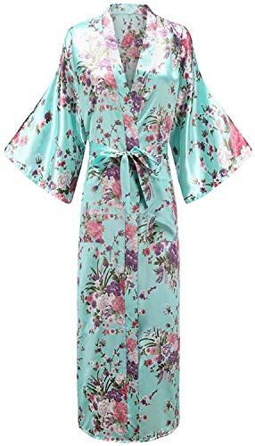Dresses Women Long Robe with Pocket Wedding Bride Rayon Kimono Bathrobe Large Size S...