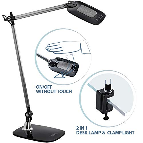 OTUS LED Desk Lamp with Gesture Control – Motion Sensor, Touchless Reading Light – Activates with One Hand Wave – Tall, 360-Degree Adjustable Design with Multiple Color and Brightness Modes (Black)