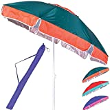BAKAJI Ombrellone da Mare Spiaggia Giardino Diametro 180cm con Palo in Acciaio Reclinabile 8 Stecche Rivestimento in Tessuto Nylon Anti UV Bicolore Sistema Air Vent 4 Colori Assortiti Coveri