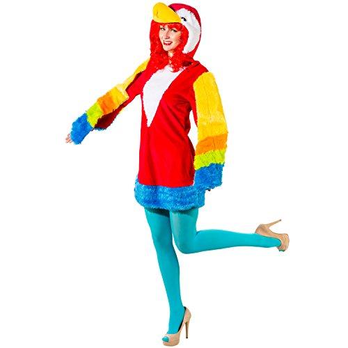 Unbekannt Damen Kostüm Papagei Birdy Kleid Bunt Tier Vogel Fasching Karneval (42/44)