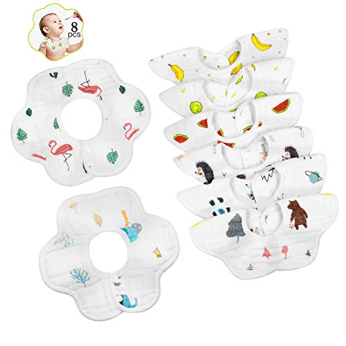 Baby Bibs, 360 ° Rotate Soft Baby Bib Anti-Stain and Odor Resistant, Neck Baby Bibs Drool for Boys and Girls Absorbent Cotton Bib Set (8pcs)