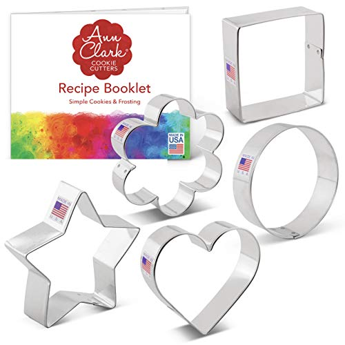 Ann Clark Cookie Cutters 5-Piece Basic Cookie Cutter Set with Recipe Booklet, Star, Heart, Circle, Square and Flower