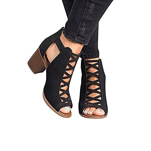 AGGF Botines para Mujer de tacón bajo, Vestido de Tiras de tacón de Bloque enjaulado de Verano, Sandalias Elegantes, Zapatos para Mujer