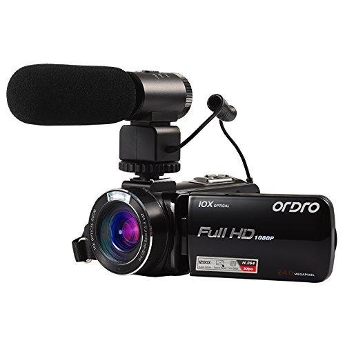 Ordro HDV-Z82 Videocamera Full HD con zoom ottico 10x, zoom digitale 120X, microfono esterno e LCD da 3,0 pollici touch screen da Express Panda