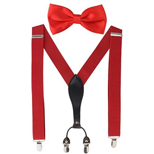 HBF Hosenträger|Y-formig elastische Länge |RückseiteVeredelt mit Lederapplikationen|mit den starken Clips|Playshoes und Halsschleife Fliege KIT |für Damen und Herren (rot)