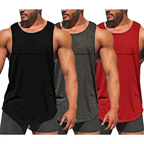 COOFANDY Pack de 3 camisetas de entrenamiento para hombre, secado rápido, para gimnasio, culturismo, fitness, sin mangas, negro, gris oscuro, rojo, XL