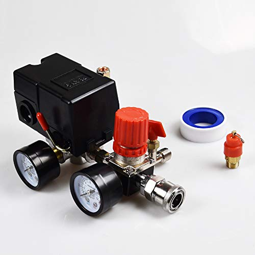 Air Compressor Pressure Switch Pressure With Valve Control Regulators Gauge 90-120PSI 4 Port Safety Valve Air compressor parts