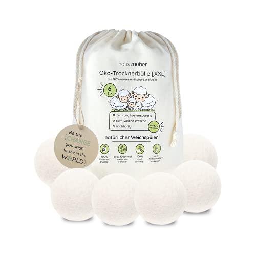 hauszauber - Öko Trocknerbälle für Wäschetrockner [6er Set XXL] - Nachhaltige Produkte aus 100% Schafwolle - Natürlicher Weichspüler ideal für Daunen - Zero Waste: Filzbälle aus neuseeländischer Wolle