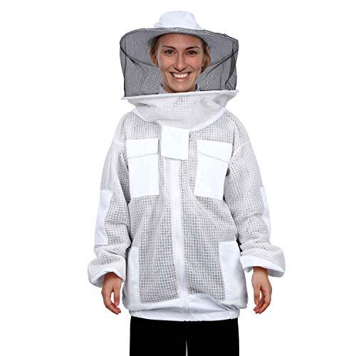 Mufly Imkeranzug mit Zaunschleier für Imker,Belüfteter,Baumwolle Imker-Anzug,Unisex Imker Biene Anzug für Professionelle Imker und Anfänger (XXL, Weiß-Jacke)