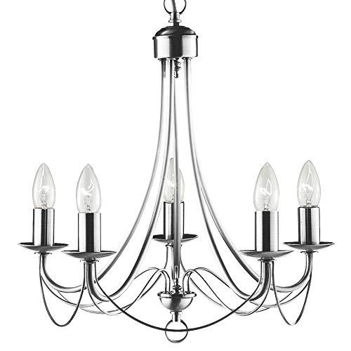 Design Kronleuchter Wohn Zimmer Beleuchtung Decken Hänge Lüster Lampe silber Searchlight 6345-5SS