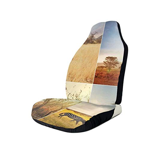 GUUi Seat Covers Vehicle Protector Car Mat, African Safari Collages With...
