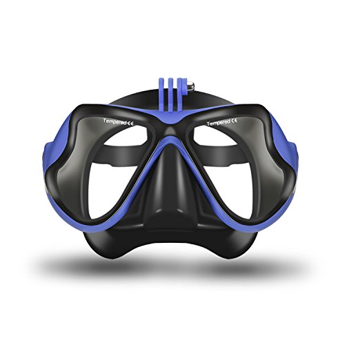 Orsen Easybreath Diver's Snorkelling Set - Full Face Mask - Snorkel - Earplugs / 180Degree Viewing Angle / for Adults and Children / GoPro Camera Mount /FDA Material, blue