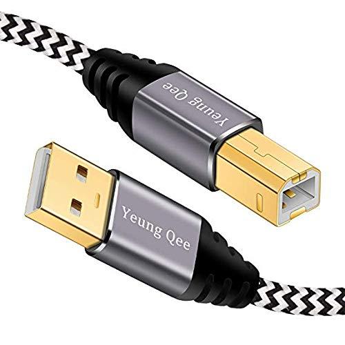 Cable de impresora Yeung Qee de alta velocidad USB 2.0 A macho a tipo B macho, compatible con HP,...