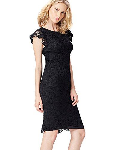 find. 13576 vestido fiesta mujer, Negro (Black), 38 (Talla del Fabricante: Small)