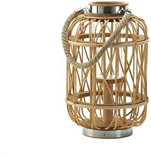 Natural Woven Rattan Candle Lantern - 12.5 inches