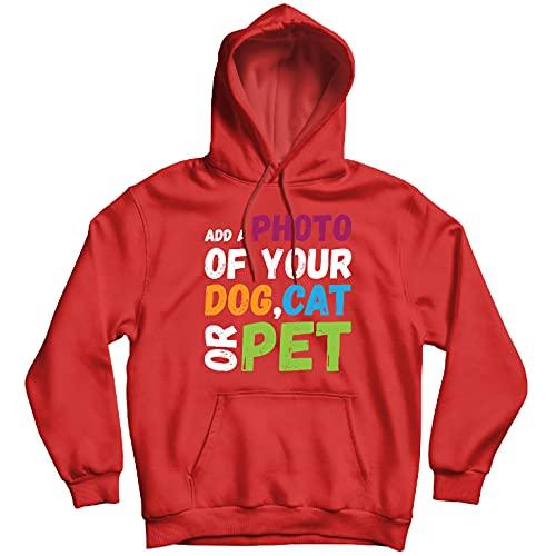lepni.me Sudadera con Capucha Diseño Divertido y Personalizado de su Perro, Gato o Mascota para los Amantes de los Animales (L Rojo Multicolor)