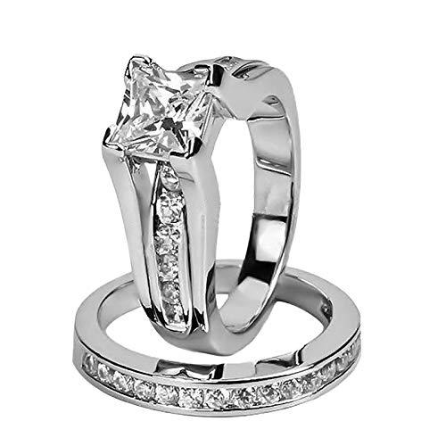 Comie Anillo para mujer, anillo de boda, anillo de boda elegante, anillo de boda con diamante, acero inoxidable, joya para mujer, regalo de cumpleaños