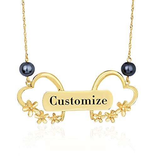 VAWAA Fashion Heart Necklace Lover's Customized Name Jewelry Women Hawaiian Gold Pearl Flower Chains Pendants Necklaces