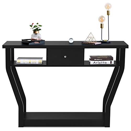 3 Tier Console Table with 1 Drawer and 2 Storage Shelves, BestComfort Modern Accent Table for Living Room/Entryway/Hallway, Black