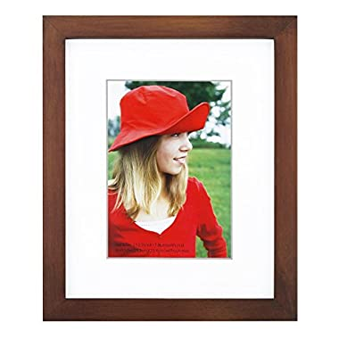 RPJC 8x10 Picture Frames Made of Solid Wood and High Definition Glass Display Pictures 5x7 with Mat or 8x10 Without Mat for Wall Mounting Photo Frame Brown