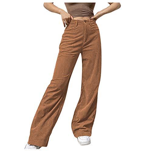 Pantalones lisos de pierna ancha para mujer, de talle medio, rectos, informales, holgados, para mujer