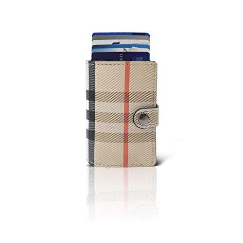Cartera Tarjetero Pequeño Mujer Hombre Tarjetas Crédito Lauder Berry Billetera Pequeña Protección RFID Metálico 11 Tarjetas Porta Billetes escocés (Beige)