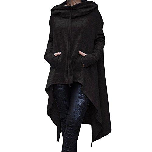 YWLINK Frauen Elegant Asymmetrische Bluse Loser Hoodie Lange Kapuze Oberteile Damen Sweatshirt Pulli Pullover Rollkragen(XXXL,Schwarz)
