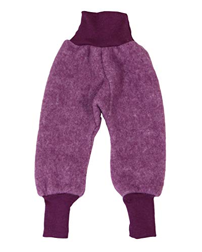 Cosilana Baby Fleece-Hose mit Bund kbT Wolle Bio Baumwolle (86-92, Weinrot-Melange)