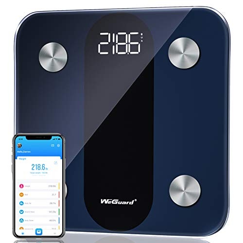 Body Fat Scale WeGuard Bluetooth Digital Bathroom Scale with Heart Rate Tracking Highprecision BMI Smart Scale Fitness Body Composition Analyzes with Smartphone App 15 Measurements 396lbs  Black