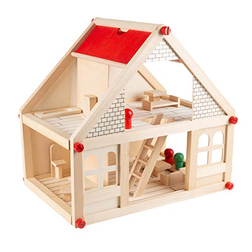 Hey! Play! Dollhouse for Kids – Classic Pretend Play 2 Story Wood Playset with Furniture Accessories & Dolls for Toddlers, Boys & Girls