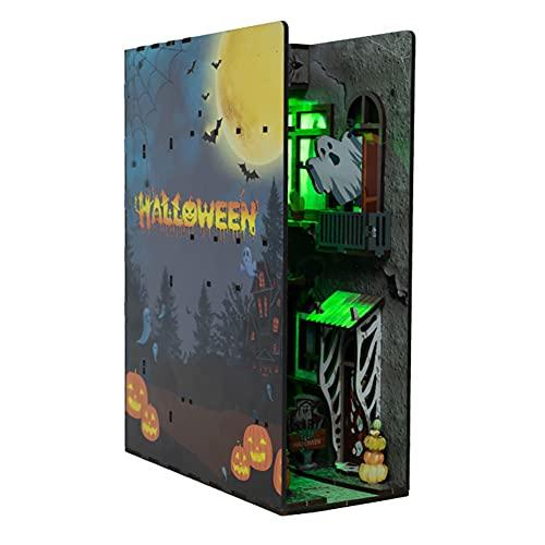 HAOXIU Kit per casa delle bambole per Halloween, l'edificio fantasma, gli spiriti si riuniscono in legno, fai da te, modello raro libreria 3D per la casa Simulazione in legno