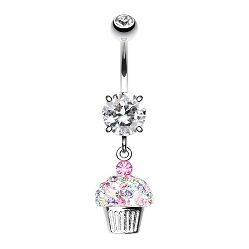 Cupcake Delight Multi-Sprinkle Dot Dangle 316L Surgical Steel Belly Button Ring (Clear/Rainbow)