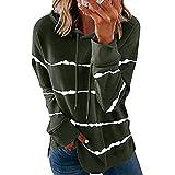 Kapuzenpullover Langarmshirt Sweatshirt mit Streifen Kordelzug Pullover Damen Casual Shirt Rundhals...